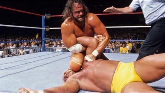Macho Man Randy Savage has the Immortal Hulk Hogan at a disadvantage.