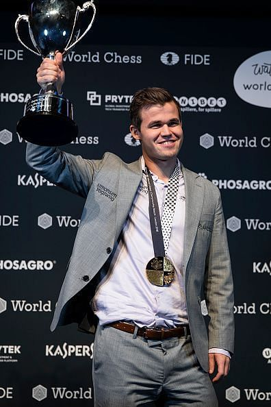 Carlsen after successfully defending his title in London