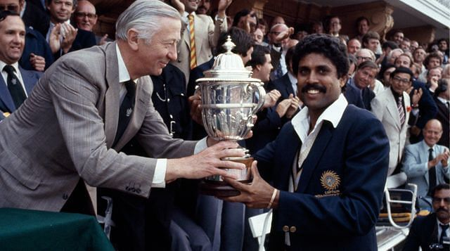 Kapil Dev receiving the 1983 World Cup Trophy