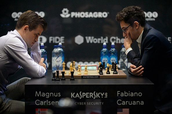 Carlsen (Left) and Caruana (Right) during one of the games of the World Chess Championship 2018