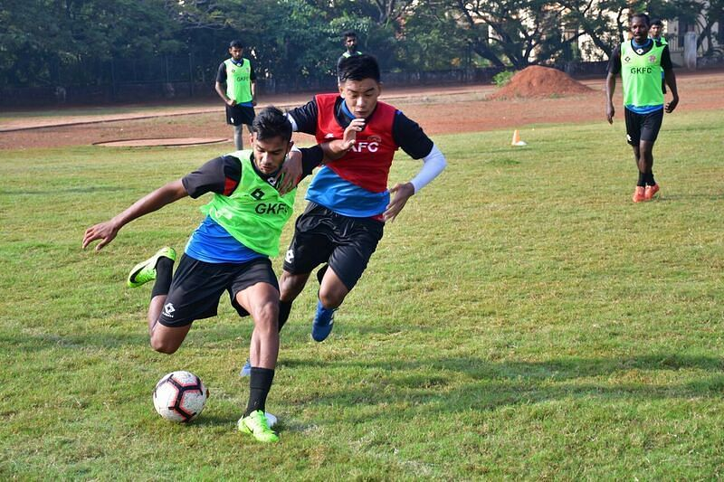 Gokulam Kerala players during training ahead of their match against Churchill Brothers