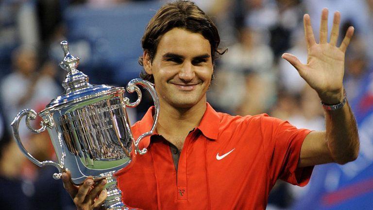 Federer winning his fifth US Open final