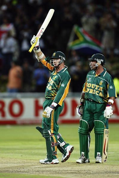 Lance Klusener of South Africa celebrates reaching his half century