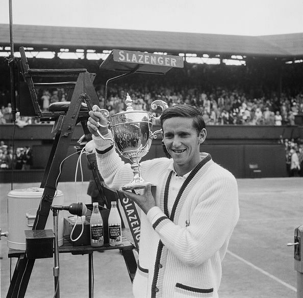 Roy Emerson With the Wimbledon Trophy