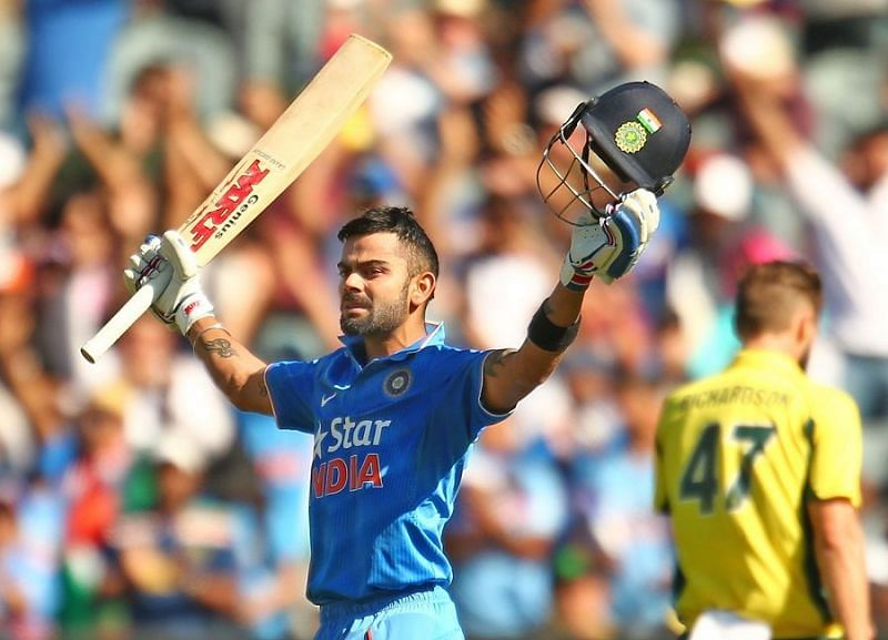 Kohli celebrating his 24th ODI century, he finished the tour with 25