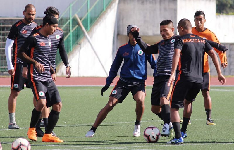 Subash Singh of NEROCA FC during a training session