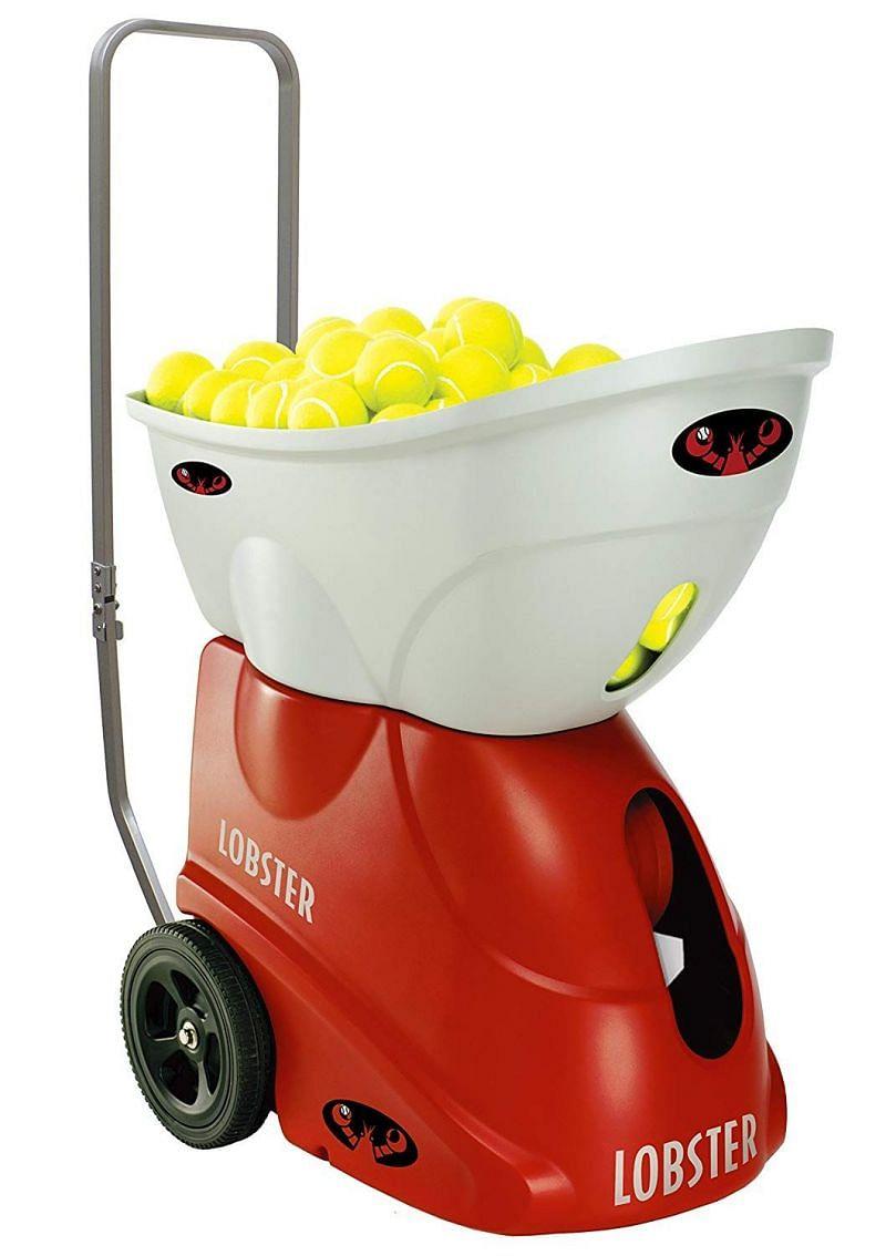 A tennis ball machine