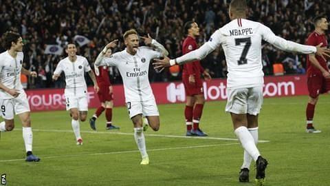 Neymar celebrates against Liverpool