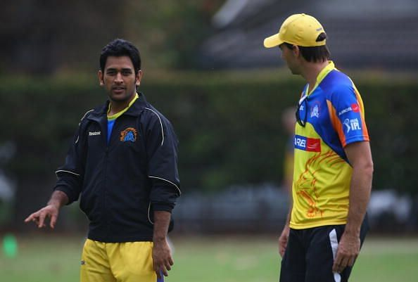 MS Dhoni with Fleming