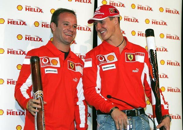 Michael Schumacher (right) and Rubens Barrichello had two of the longest ever F1 careers