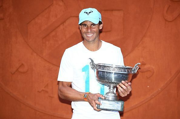Rafael Nadal with the 2018 French Open trophy