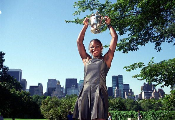 Serena Williams after winning her first Grand Slam title
