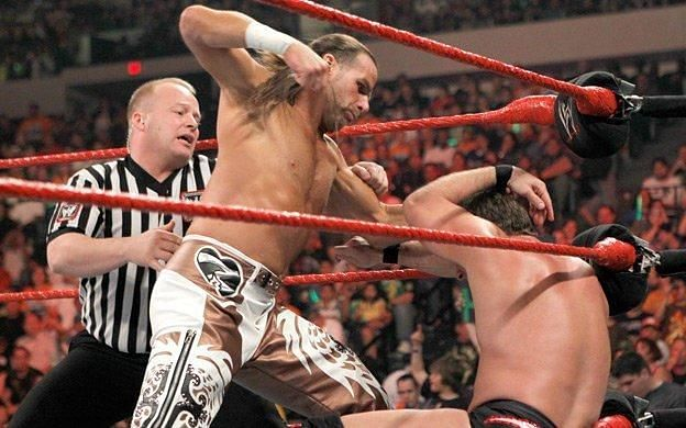 HBK showering Jericho with Punches!