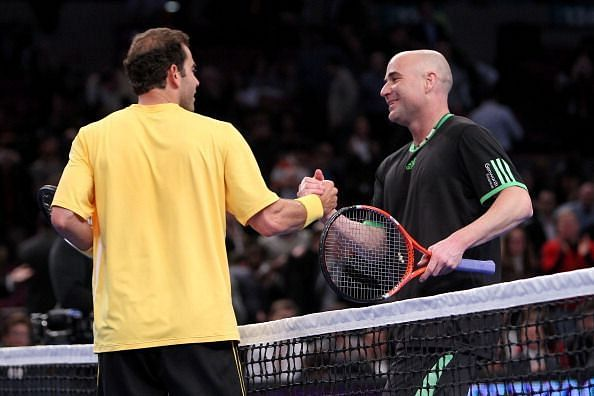 Pete Sampras with his great rival and friend Andre Agassi - together they dominated tennis in the 1990s
