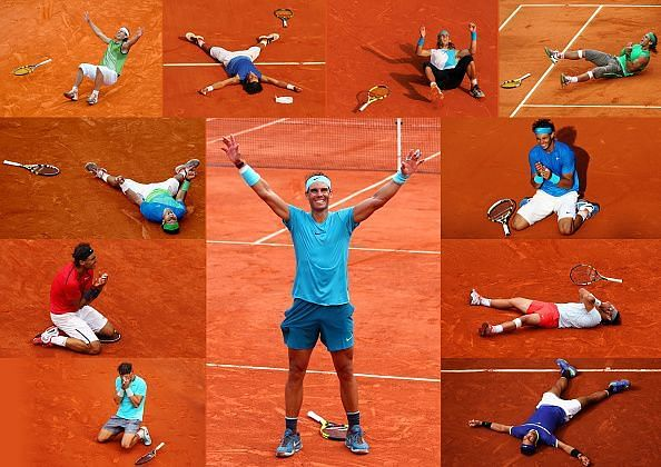 A montage of all 11 of Rafael Nadal