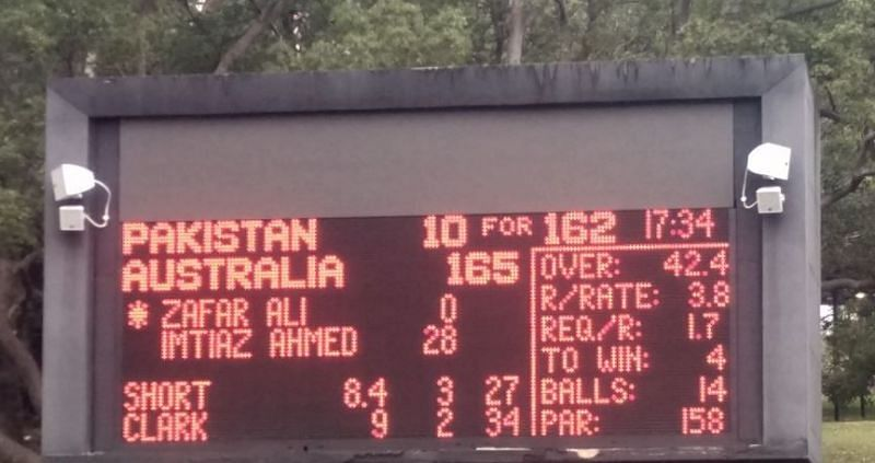 The Scoreboard which told the story (Image Courtesy: England Over-50s Cricket Team Twitter Page)