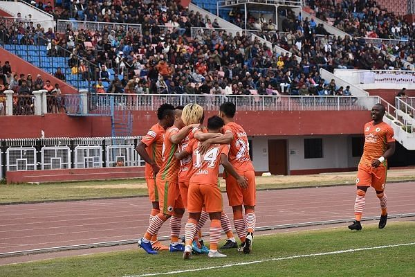 NEROCA players celebrate after Katsumi Yusa gives them the lead in the 13th second