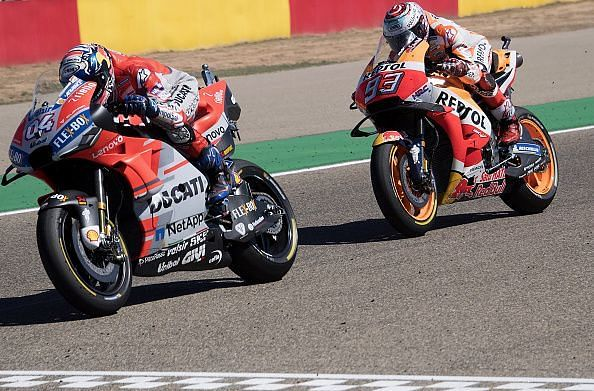 Marquez and Dovizioso battled for the lead throughout the race