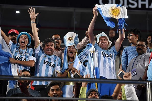 Argentinian supporters at the Men's Hockey World Cup