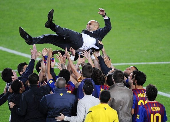 Guardiola guided the club to its first ever treble