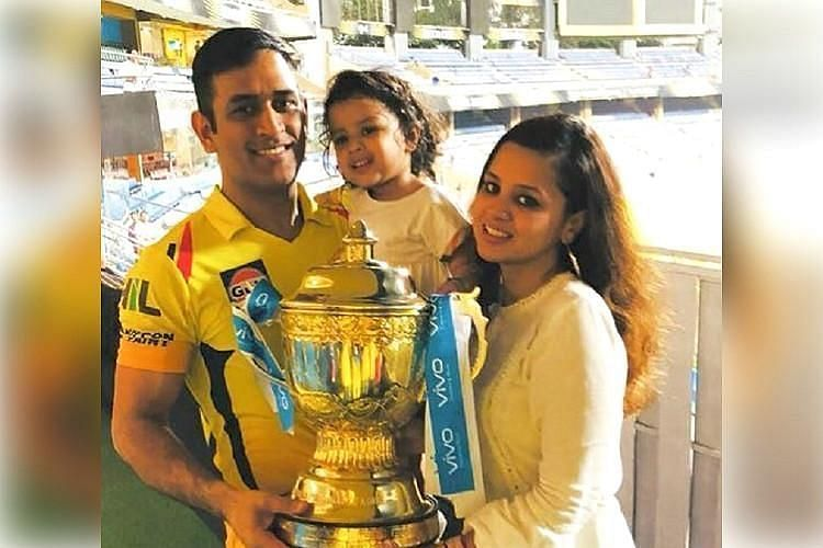 Mahendra Singh Dhoni with IPL Trophy & Family