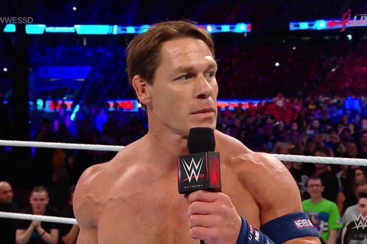 John Cena cuts a promo at WWE Super Show-Down