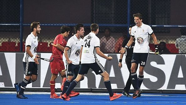 French players celebrating after scoring a goal against Spain