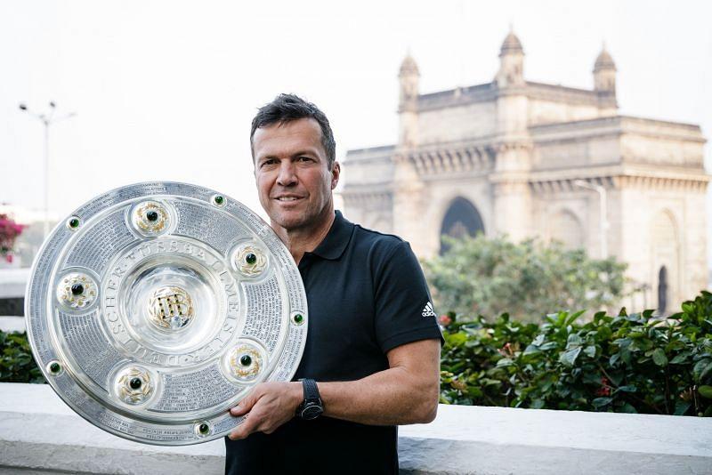 Lothar Matthäus with the Bundesliga title in Mumbai on Wednesday. (Image: ISL Media)