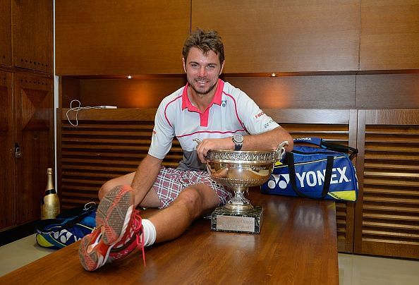 Stan Wawrinka with the 2015 French Open Trophy