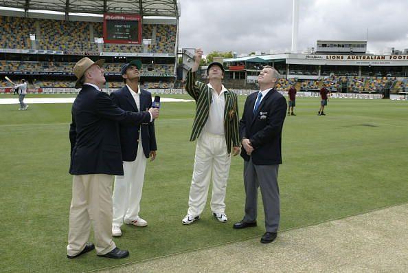 Australian Skipper Steve Waugh tossing the coin to mark the beginning of Border Gavaskar trophy