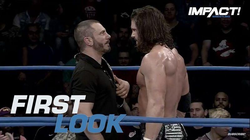 Stare down between former Impact World Heavyweight Champion Austin Aries & Johnny Impact