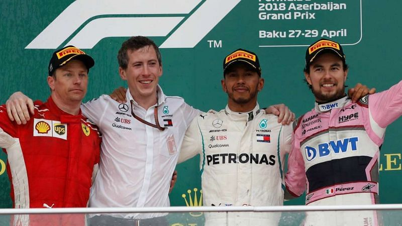 The Baku podium with Hamilton, Raikkonen and Perez as top 3