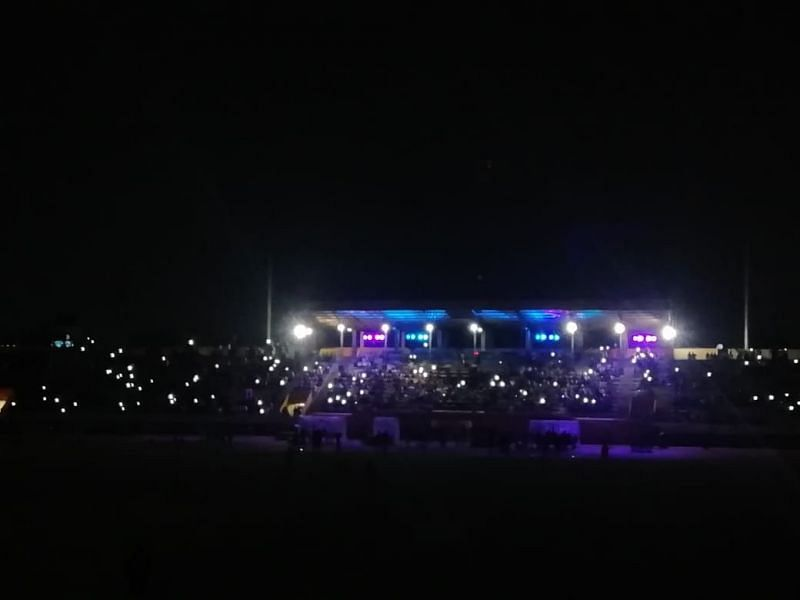 The lights went off on all the towers in the 83rd minute of the game.