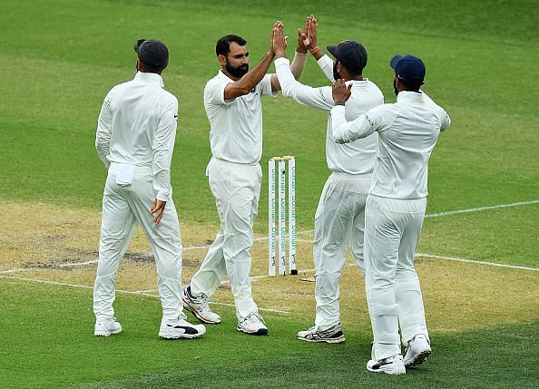 Mohammed Shami picked wickets off consecutive balls to bring an end to the Australian innings
