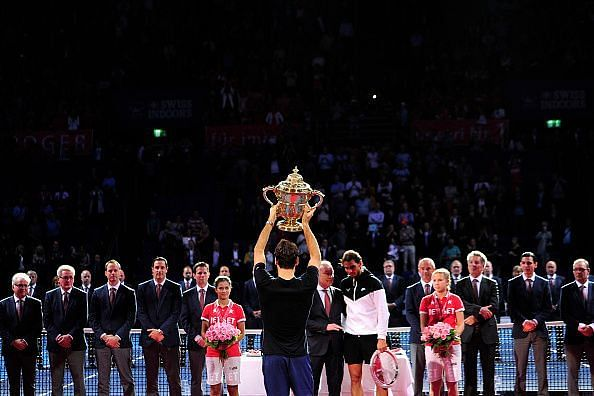 Federer lift the ATP Swiss Indoor Basel Trophy for the 9th time in 2018