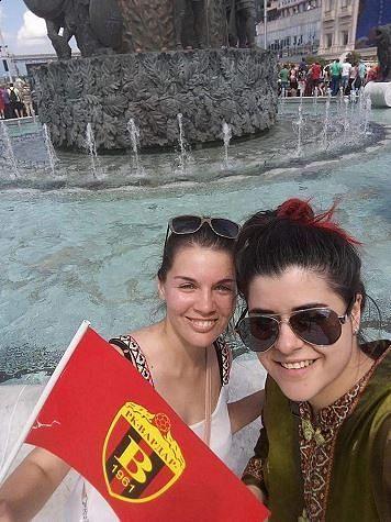 Daniela Zdravkovska (left) and her friend celebrate the SEHA League obtained by RK Vardar in 2017.