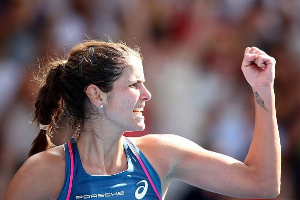 Julia Goerges clenches her first during her QF match at the ASB Classic