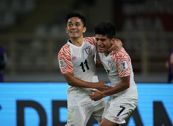 Indian national team captain Sunil Chhetri (left) with midfielder Anirudh Thapa