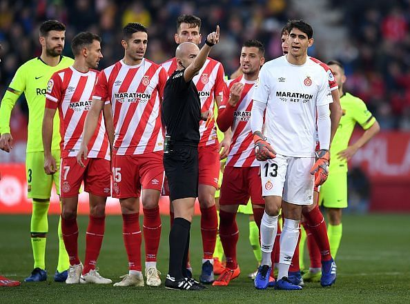 Girona were reduced to ten men early in the second half