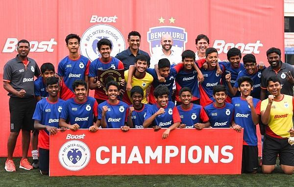 DPS East, champions of the Boost BFC Inter-School Soccer Shield in the U-14 category