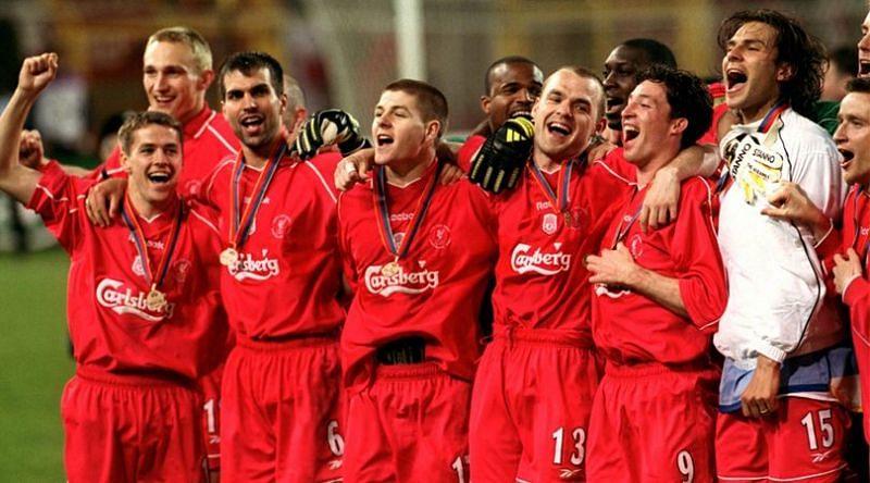 Liverpool won the treble in 2000-01season
