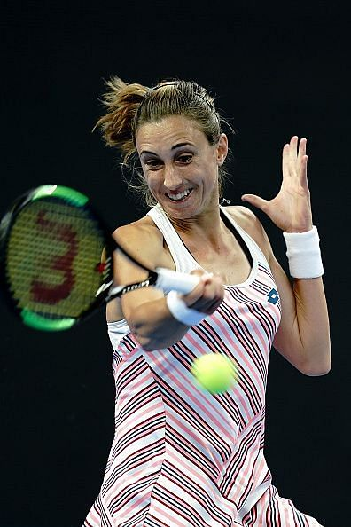 Petra Martic slams away during her first round match against Heather Watson