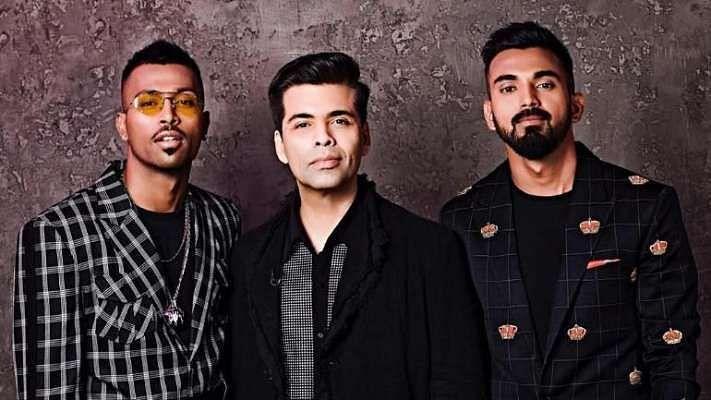 Hardik Pandya, KL Rahul and Karan Johar posing for Koffee with Karan Show