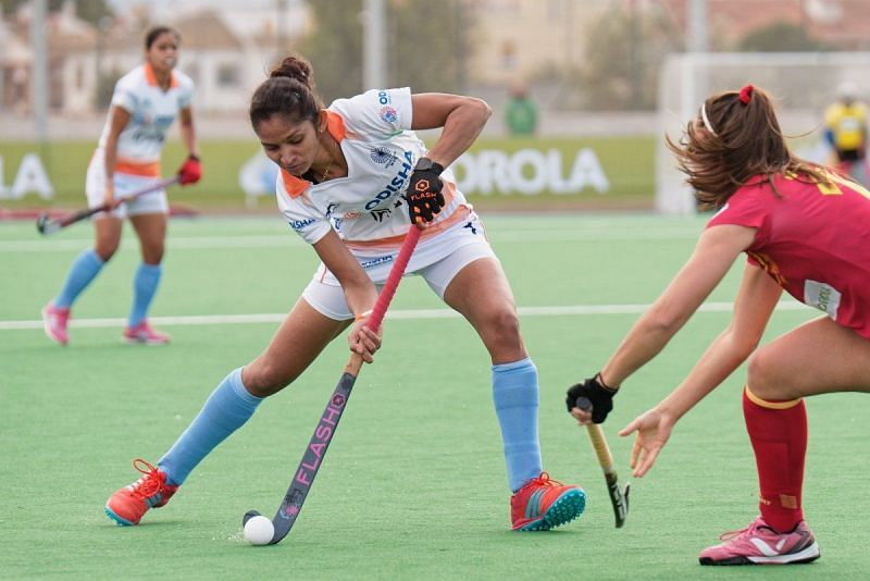 Action from the India vs Spain match on Tuesday (image courtesy: Hockey India Twitter)