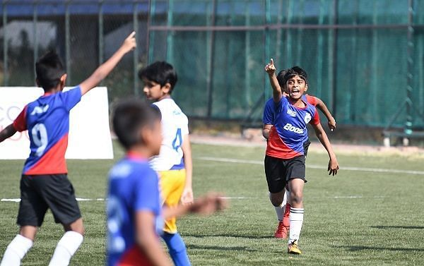 A celebration routine from the Boost-BFC Inter School Soccer Shield