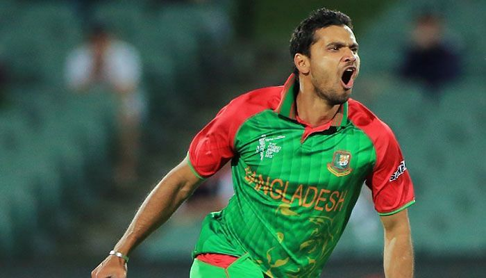 Mortaza celebrates after taking a wicket