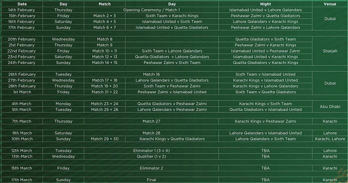 Pakistan Super League 2019 Schedule.