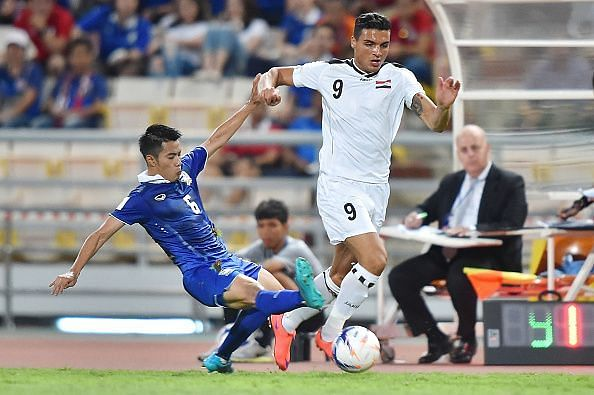 Ahmed Yasin in action for Iraq in the 2018 FIFA World Cup Qualifier against Thailand