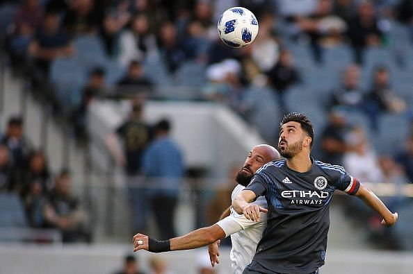 David Villa (right) during the New York City FC - Los Angeles FC game