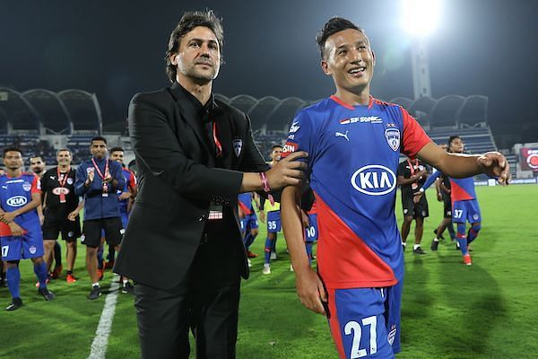 Chencho Gyeltshen (right) found playing time hard to come by under Bengaluru FC coach Carles Cuadrat